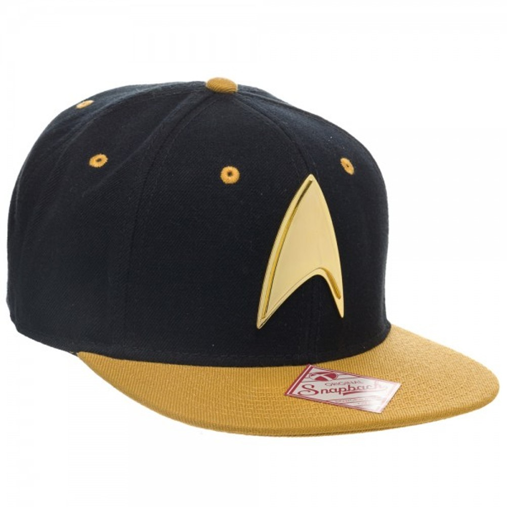 08f4d1e9f62 Star Trek Gold Logo Snapback Baseball Hat Starfleet Command ...