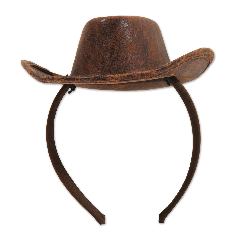 f7a8ea9edccd9f Mini Brown Felt Cowboy Hat on a Headband Adult Mens Western Costume ...