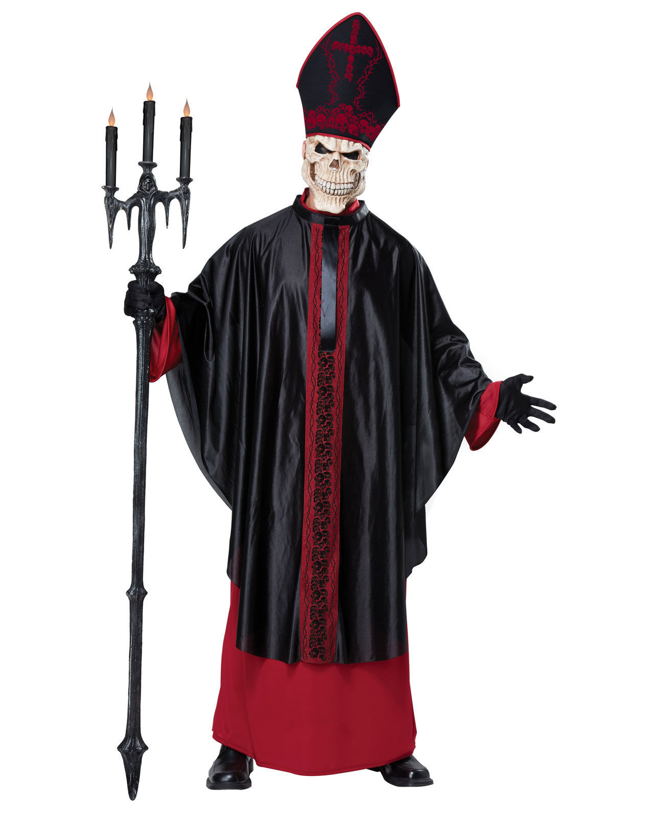 Black Mass Skeleton Priest Grim Reaper Evil Pope Gothic Adult Costume S//M L//XL
