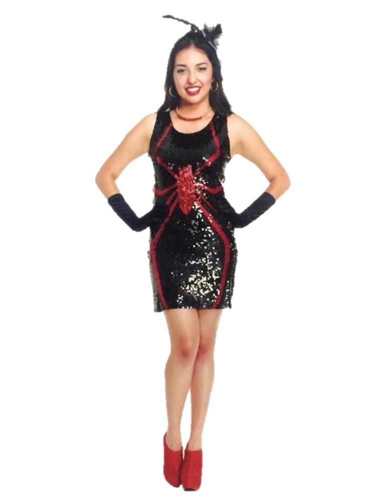 bf53e7777703 Sexy Sequin Spider Fancy Dress Halloween Costume Dress Adult Womens ...