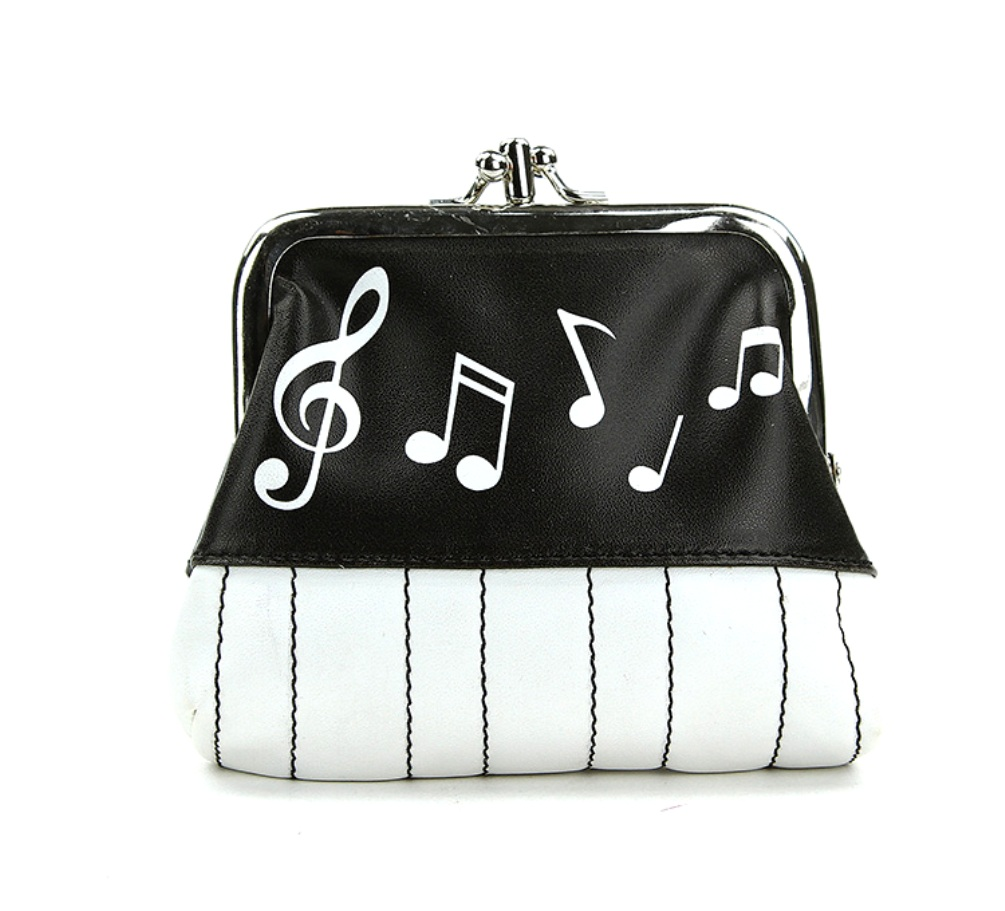baef8249358e Details about Musical Notes Coin Purse PU Leather Clutch Bag Wallet Handbag  Piano Black White