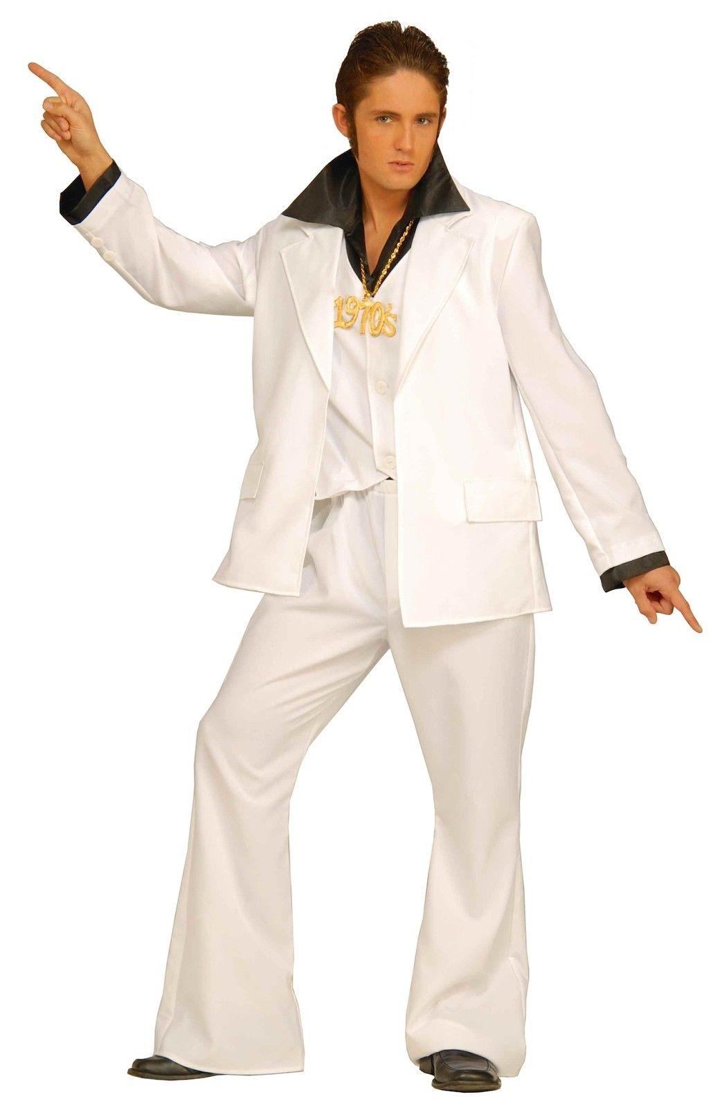 Saturday Night Fever White Leisure Suit Adult Costume Mens Disco Tony Manero 70s