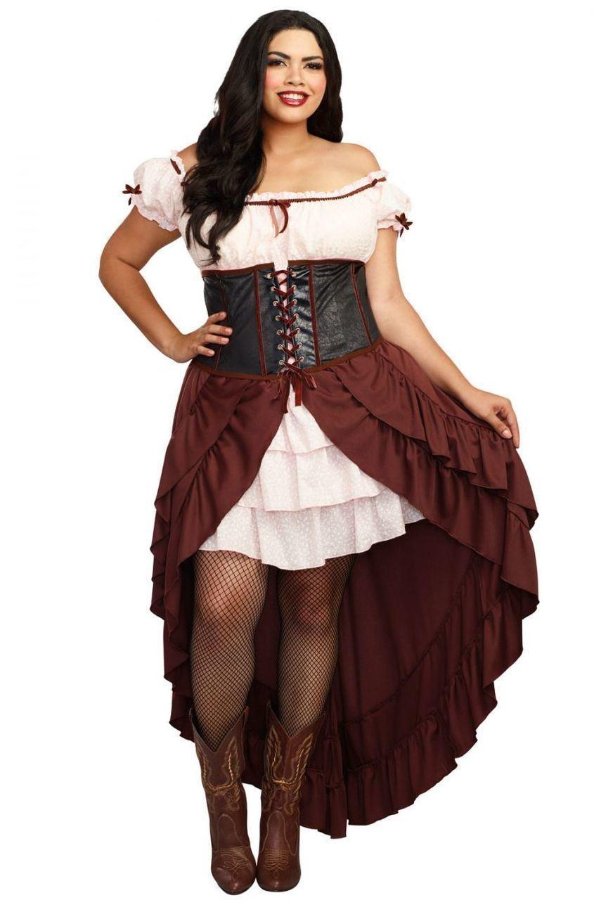 Details about Dreamgirl Saloon Gal Costume Women\'s Wild West Western Plus  Size Fancy Dress