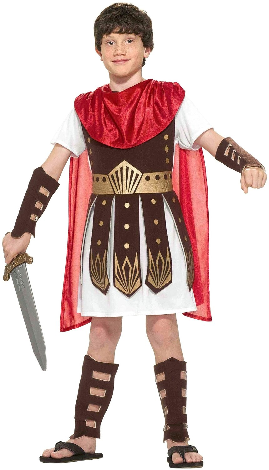 Responsive image  sc 1 st  eBay & Roman Warrior Soldier Child Halloween Costume Size 12-14 Large Cape ...