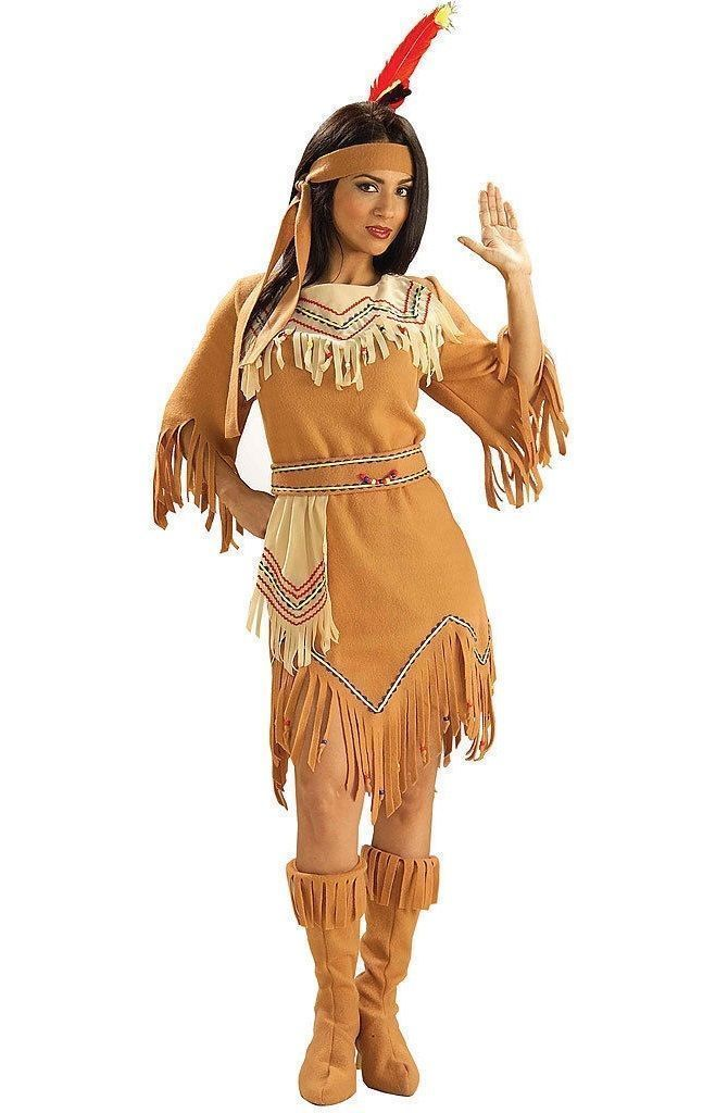 W461 Native American Indian Maiden Pocahontas Wig With Plaits Braid With Feather