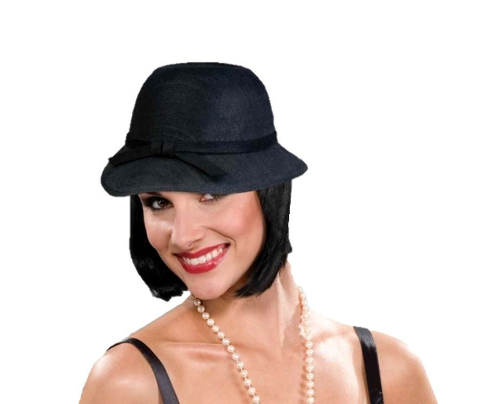 Details about Black Cloche Flapper Hat Women Costume Accessory Roaring 20 s  the Great Gatsby a413f1ebd69
