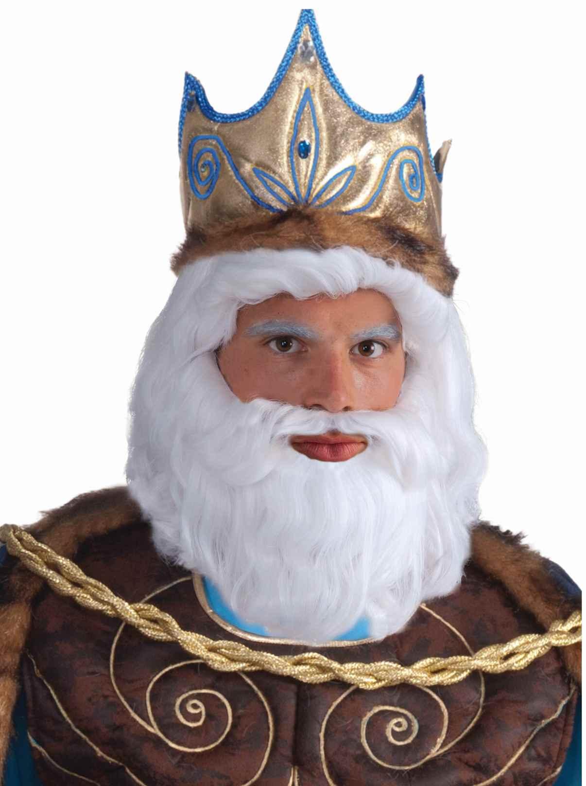 Men's King Neptune Triton Greek White Wig & Beard Set ...