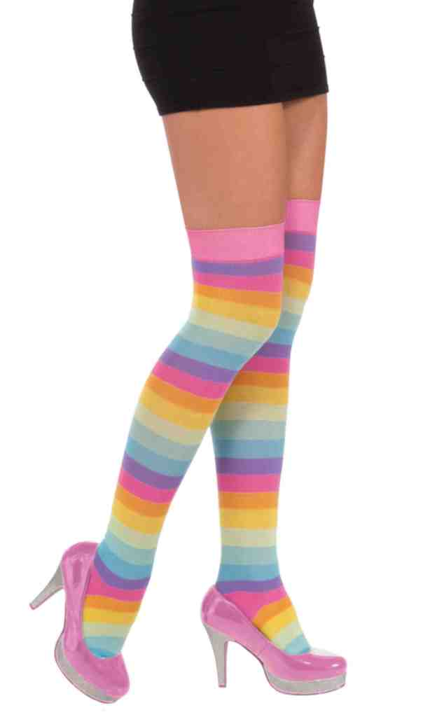 Women/'s Circus Sweetie Striped Costume Accessory Clown Thigh High Stockings