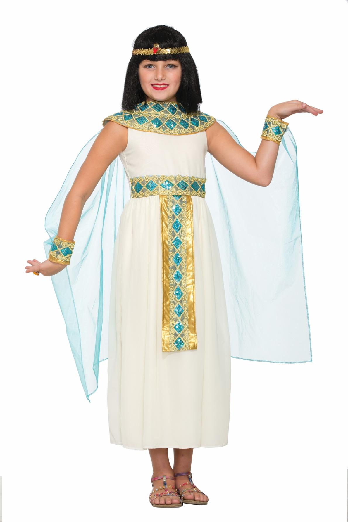 Egyptian Queen Cleopatra Child Halloween Costume Girls White Roman Greek Dress Ebay