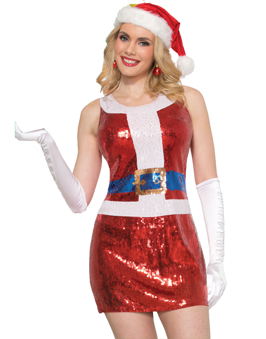 Sexy Mrs Santa Claus Sparkly Red Sequins Costume Fancy Dress