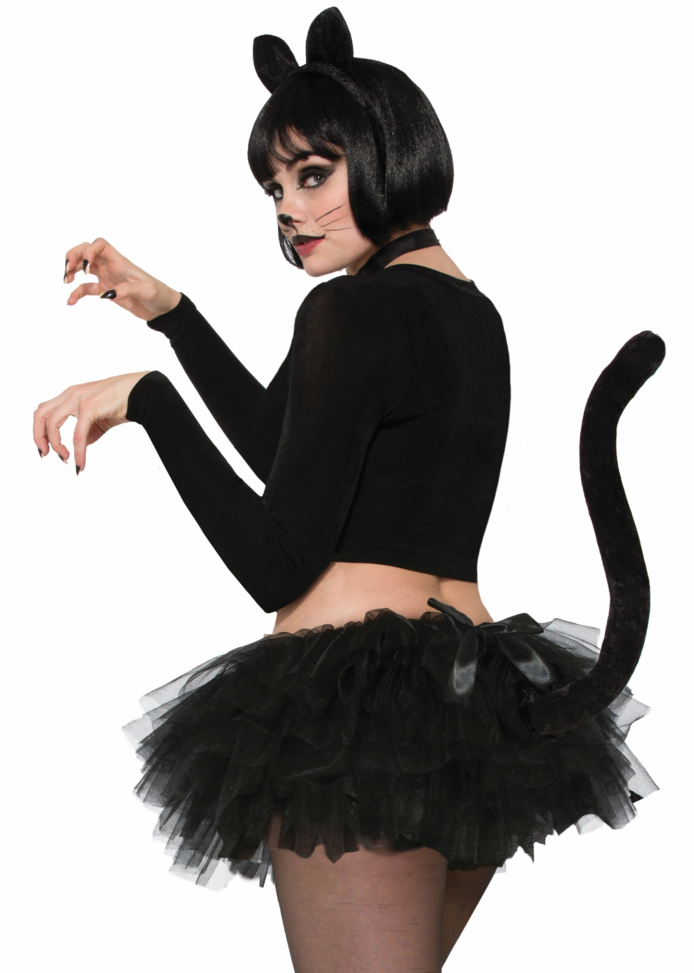 Sexy Black Cat Skirt Crinoline Tutu with Tail Animal Women Costume ... b615502ebb