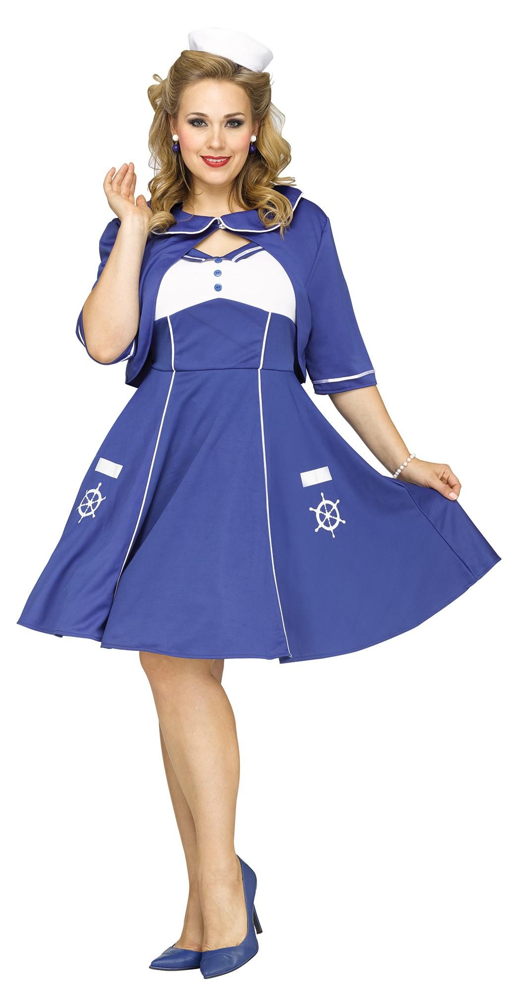 Sweet Sailin\' Sailor Dress Plus Size Women\'s Costume 40s-50s Retro ...