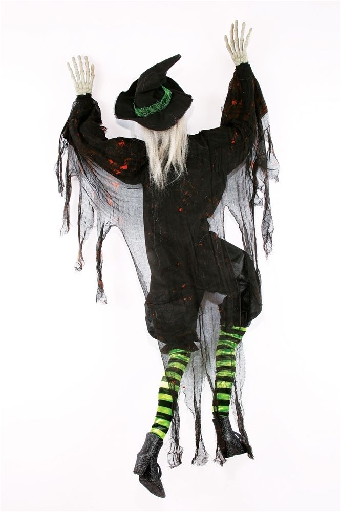 Details About 5u0027 Climbing Dead Black Witch Hanging Halloween Wall Haunted  Decoration Prop