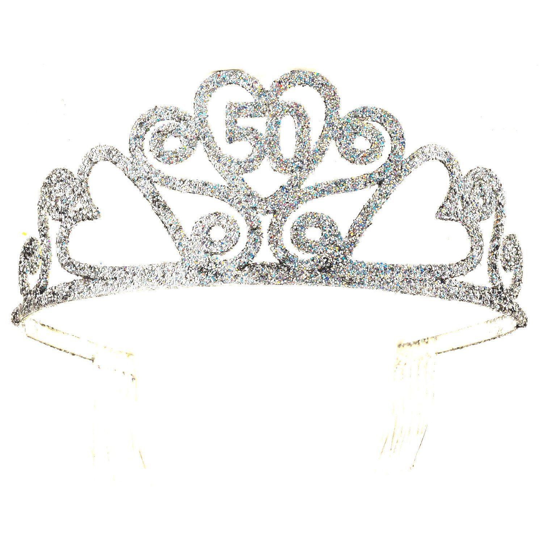 Happy 50th Birthday Silver Glitter Tiara Crown Gift Costume ... f6b59feb429a