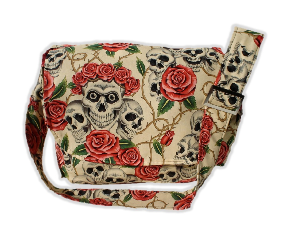 Hemet Skeleton And Roses Messenger Bag Black
