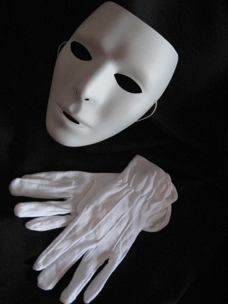 Blank Mask & Gloves White Mtvs Dance Crew Mime Artist Male ...