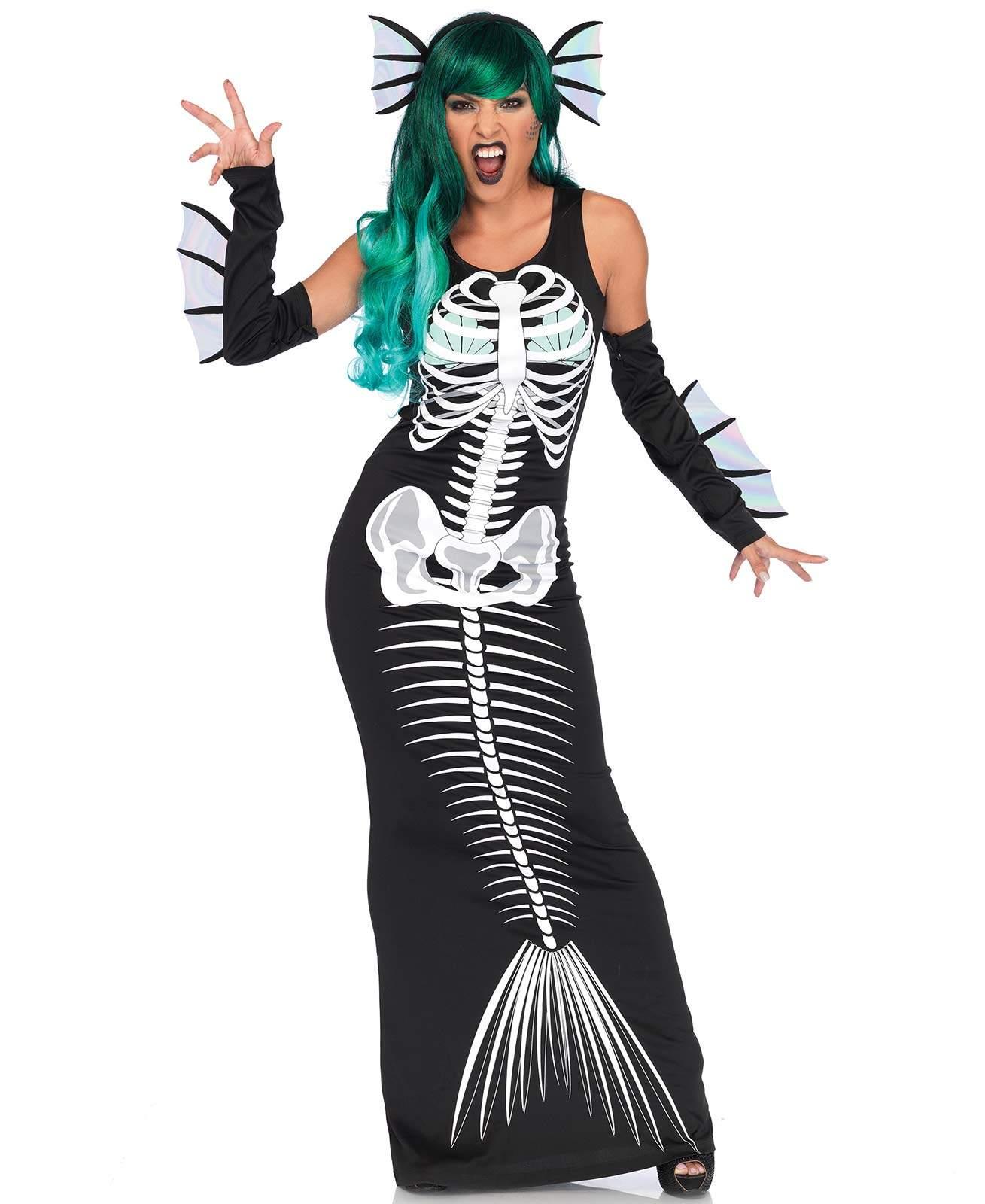 Leg Avenue Skeleton Siren Costume Fishtail Fish Bones Mermaid Women