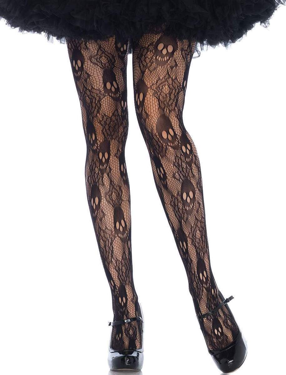 f8818168784 Leg Avenue Black Rose Skull Lace Pantyhose Tights Womens Gothic Plus ...