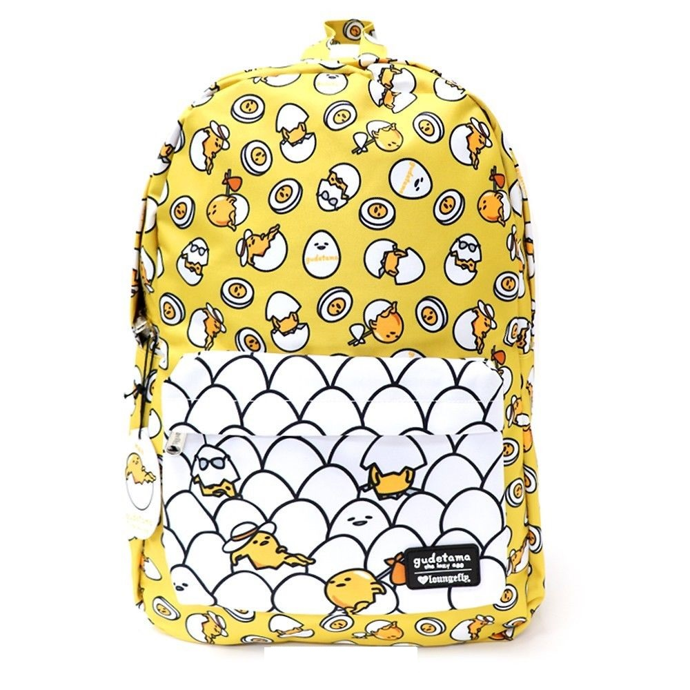 fc0e08cb68c1 Details about Loungefly X Gudetama The Lazy Egg AOP Backpack Multi Pose  School Bag