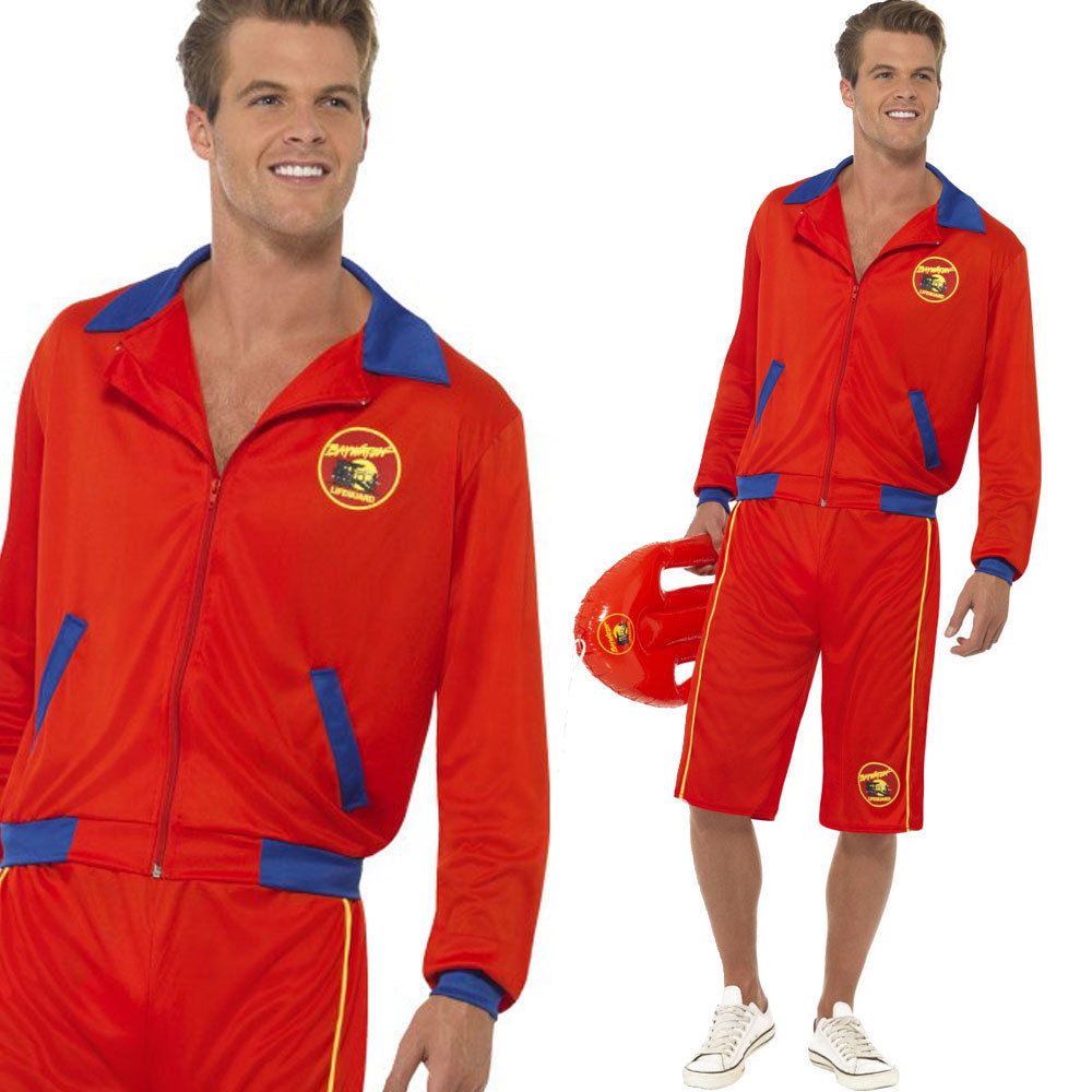 93dbeb1a6d Baywatch Beach Movie Lifeguard Costume Sexy Mens Red Jacket N' Long ...