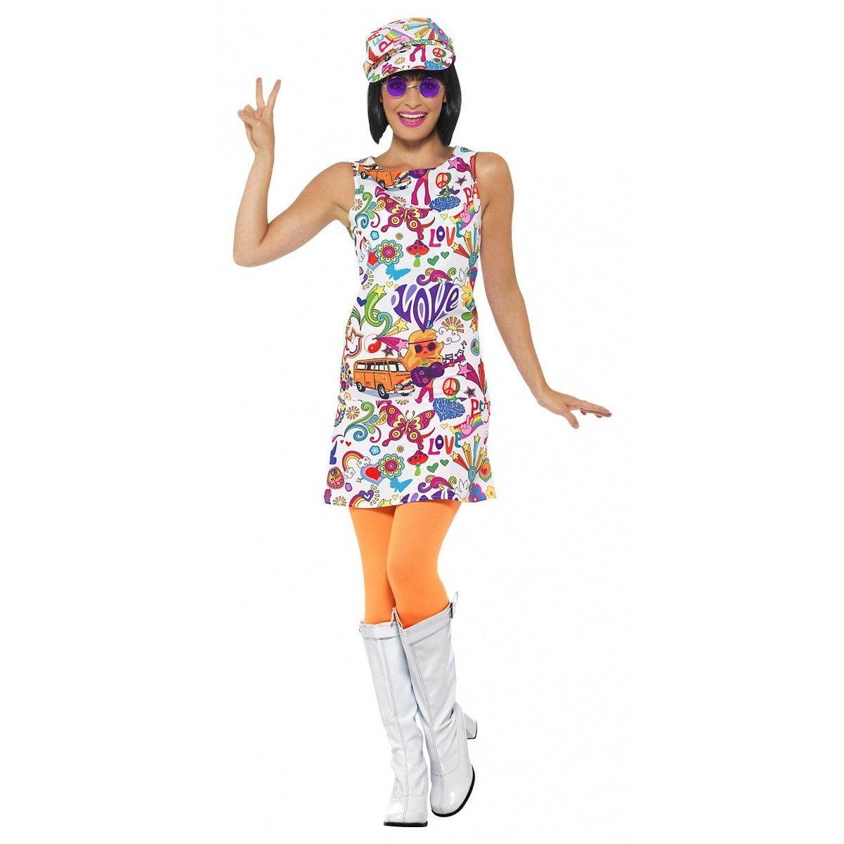 HAT 70/'S FANCY DRESS COSTUME GROOVY GIRL MINI DRESS