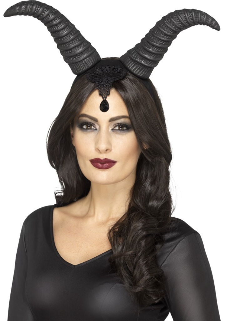 Details About Demonic Queen Horns On A Headband Evil Black Adult Halloween  Costume Accessory