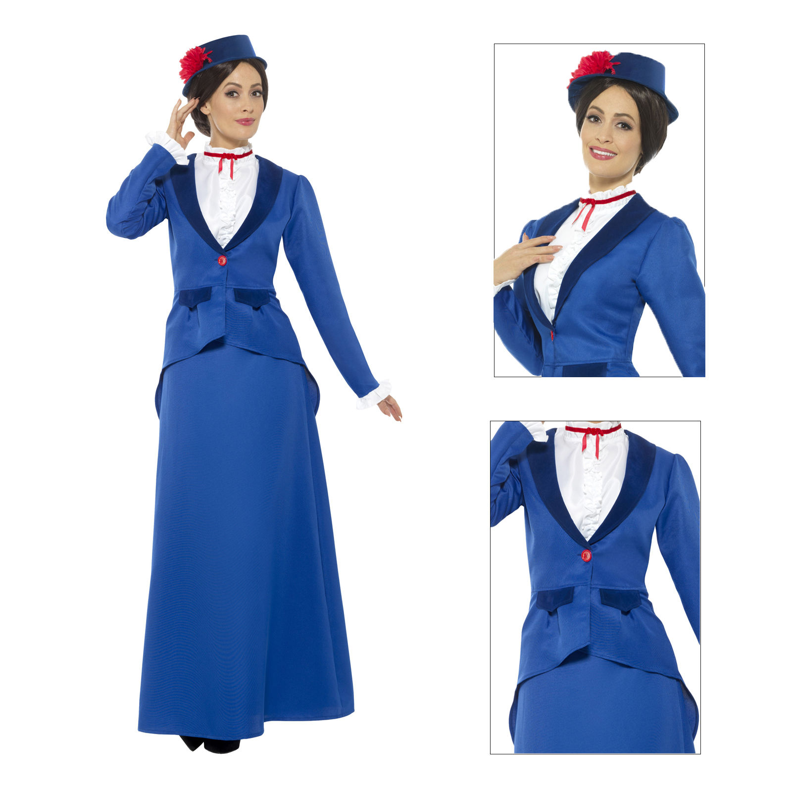 Grey Ladies Victorian Nanny Costume Fancy Dress Mary Poppins Book Outfit