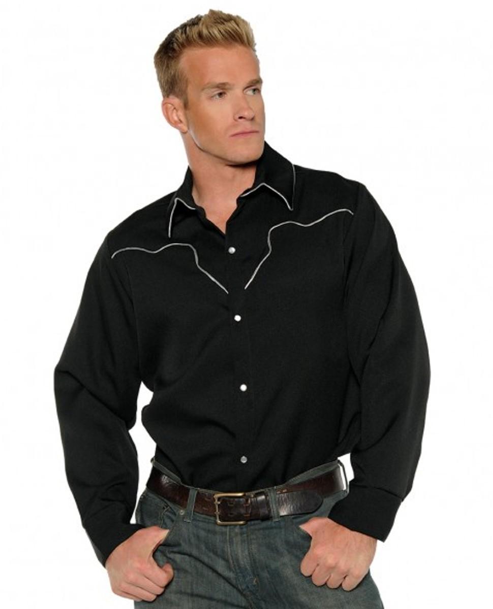 3fb54d4f981 Details about Black Cowboy Western Wild West Rodeo Sheriff Shirt Adult Mens  Costume STD-XL-XXL