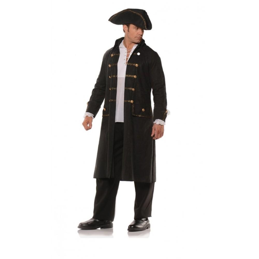 e295f9124 Details about Pirate Coat Set Black Faux Leather Print Adult Mens Jacket  Tricorn Hat Std-XXL