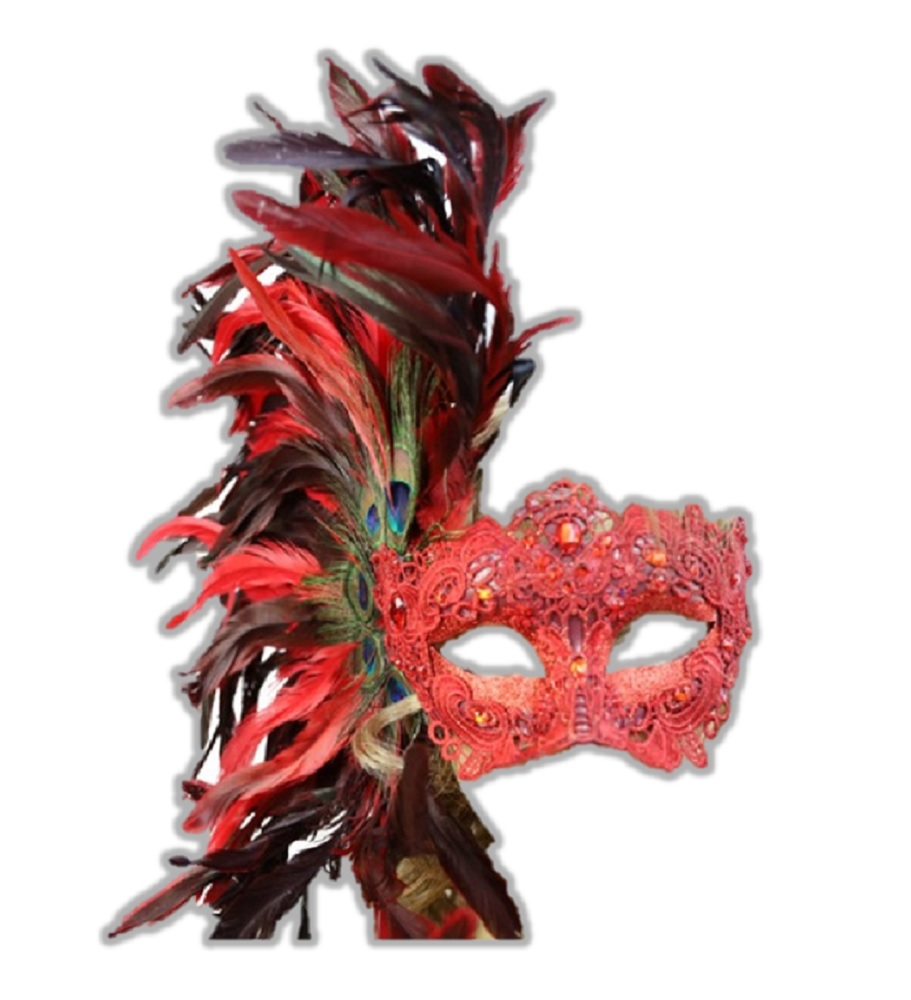 Elegant Lady Women Mask Eye Mask with Feather for Xmas Halloween Carnival Party