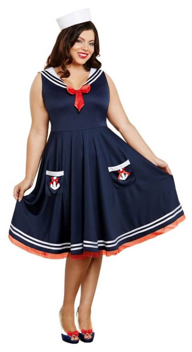 Details about All Aboard Costume Womens Retro Navy Blue Sailor Fancy Dress  Plus Size 3X-4X