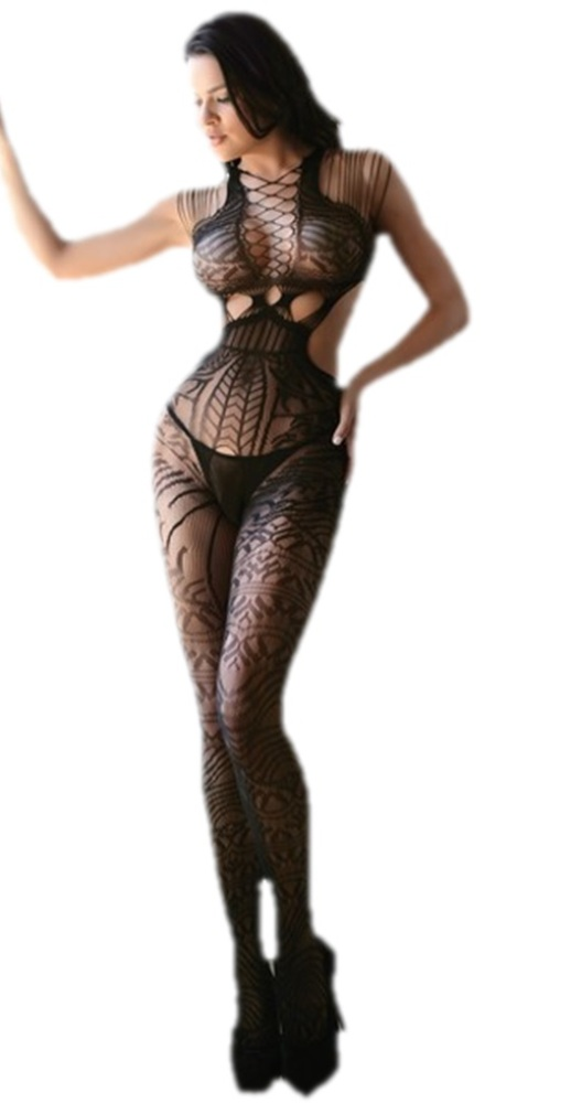 7eeb515d0 Killer Legs Black Tribal Fishnet Cutout Bodystocking Lingerie Women ...
