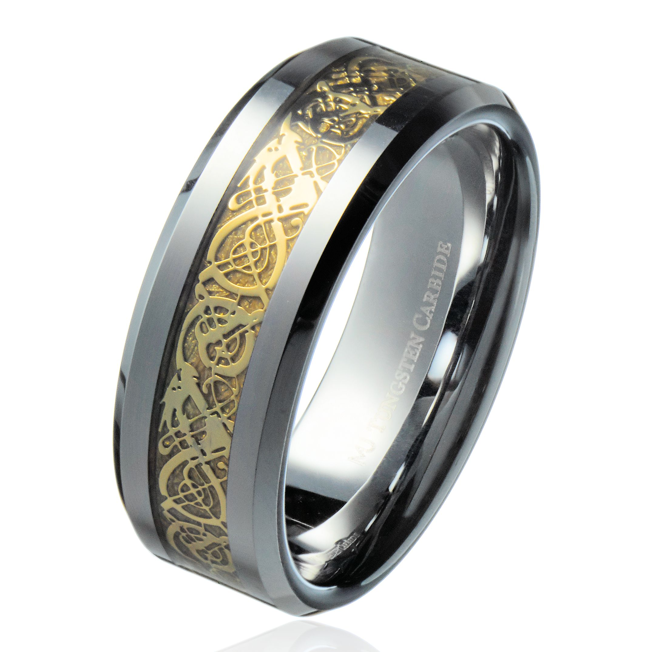 8mm Gold Celtic Dragon Ring Men's Tungsten Carbide Wedding Band Jewelry: Cross Backround Wedding Bands At Websimilar.org