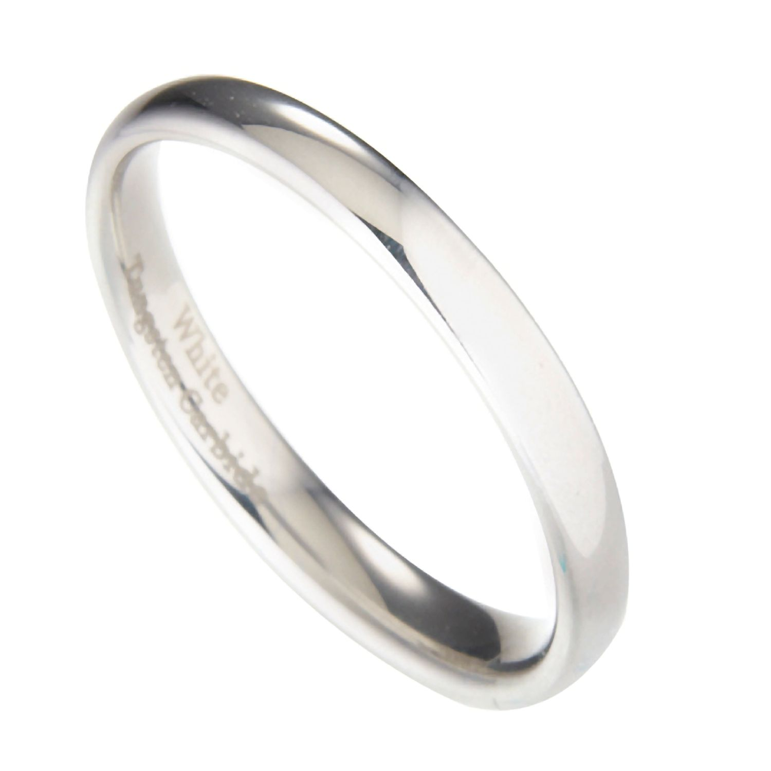 3mm-10mm-White-Tungsten-Carbide-Polished-Wedding-Ring thumbnail 17