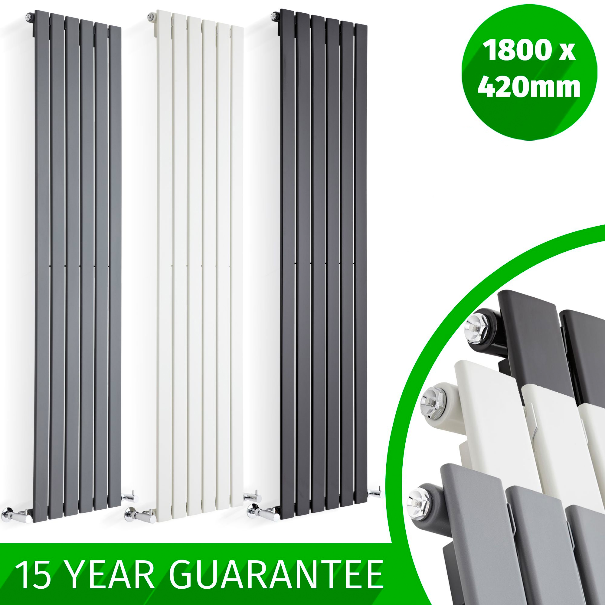 DESIGNER RADIATORS Vertical Flat Panel Tall Upright Columns Central ...