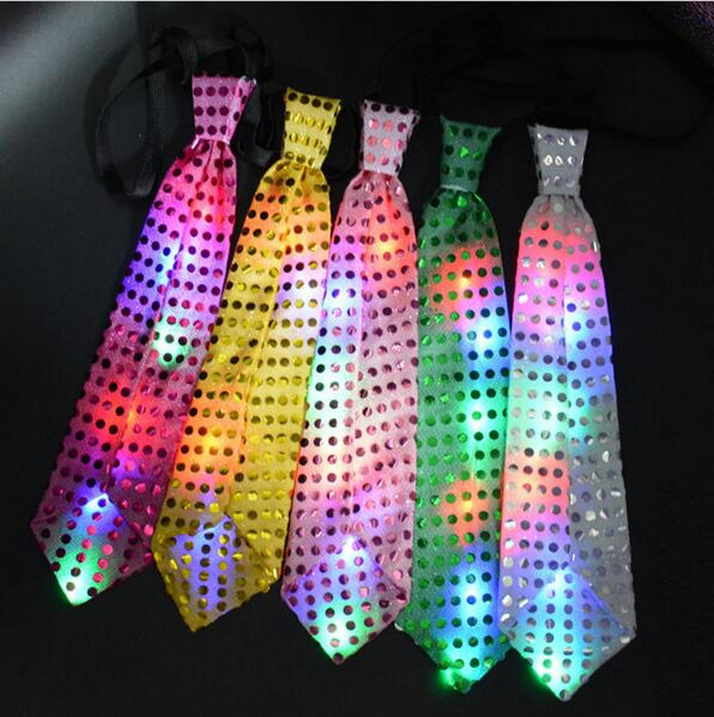 Colorful LED Flashing Light Up Sequin Bowtie Necktie Mens Party Bow Tie Wedding