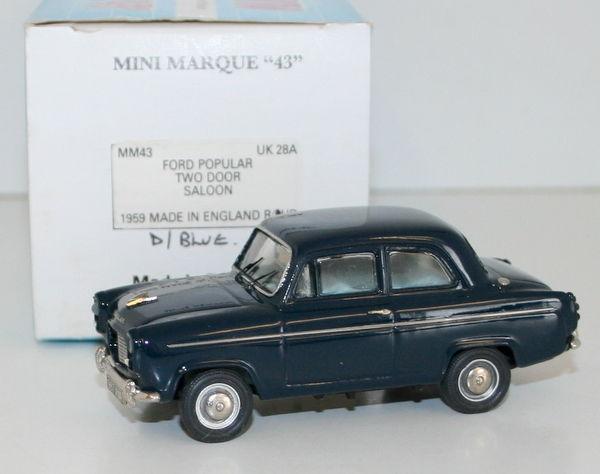 Minimarque 1/43 Uk28a - 1959 Ford Popular Berline Deux Portes Rhd Bleu Foncé