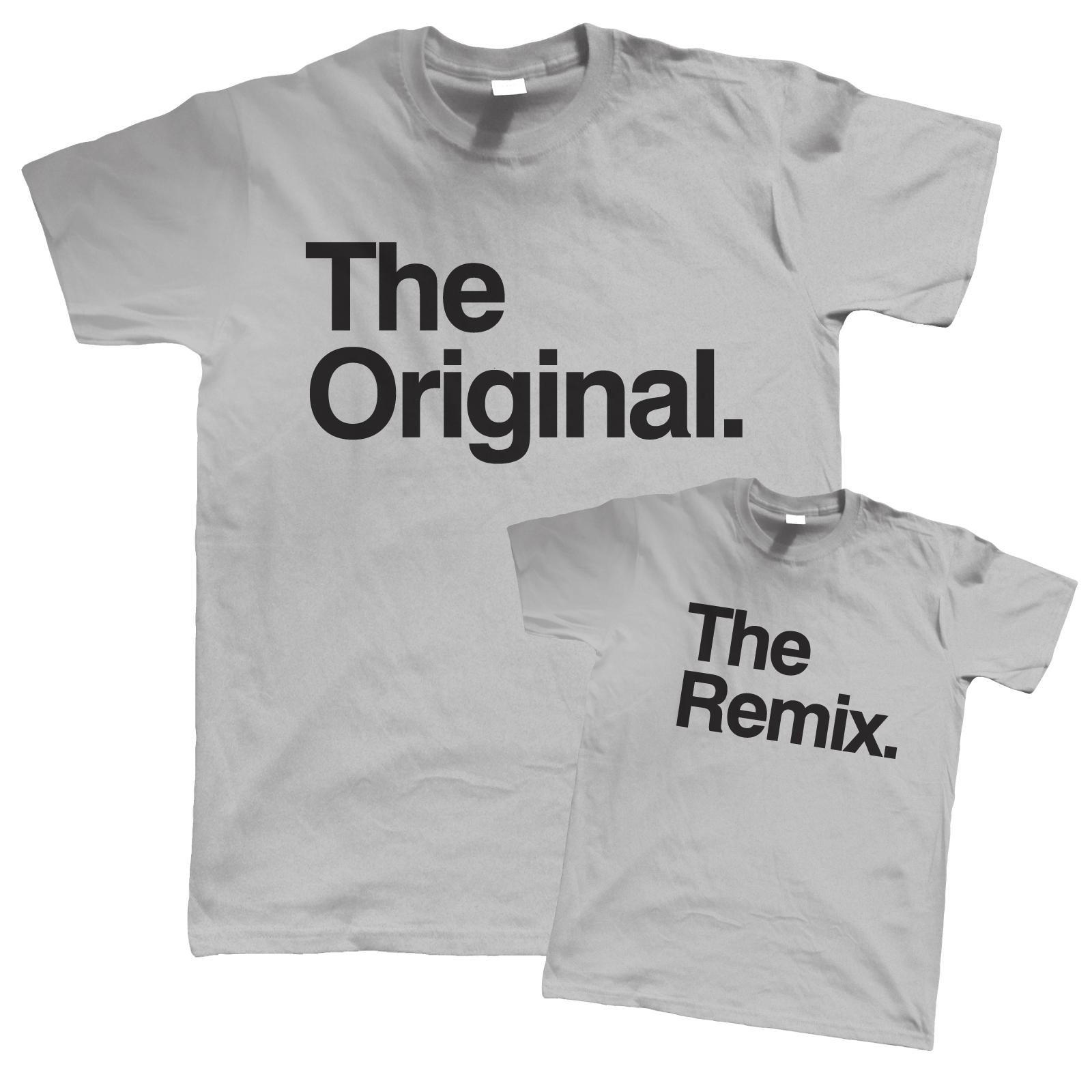 The Original. L'originale. The Remix. Il Remix. Father Son Gif T-shirt Padre Figlio Gif T-shirt K2fIf
