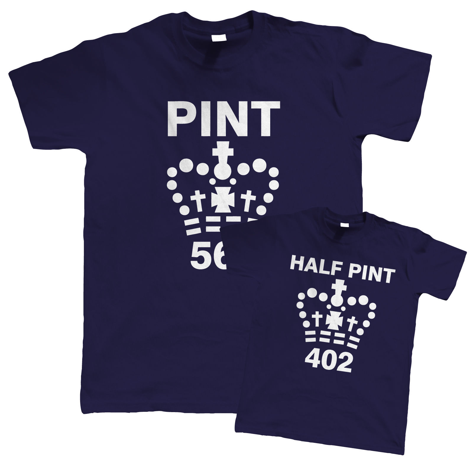 pint and half pint funny t shirt father son daughter. Black Bedroom Furniture Sets. Home Design Ideas