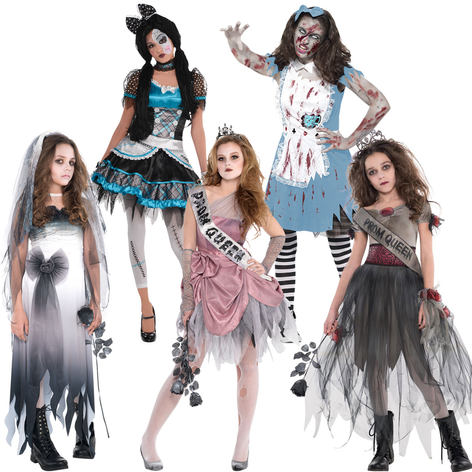 Dead Bride Halloween Costume.Details About Girls Teens Halloween Costumes Zombie Bride Doll Prom Queen Alice Fancy Dress