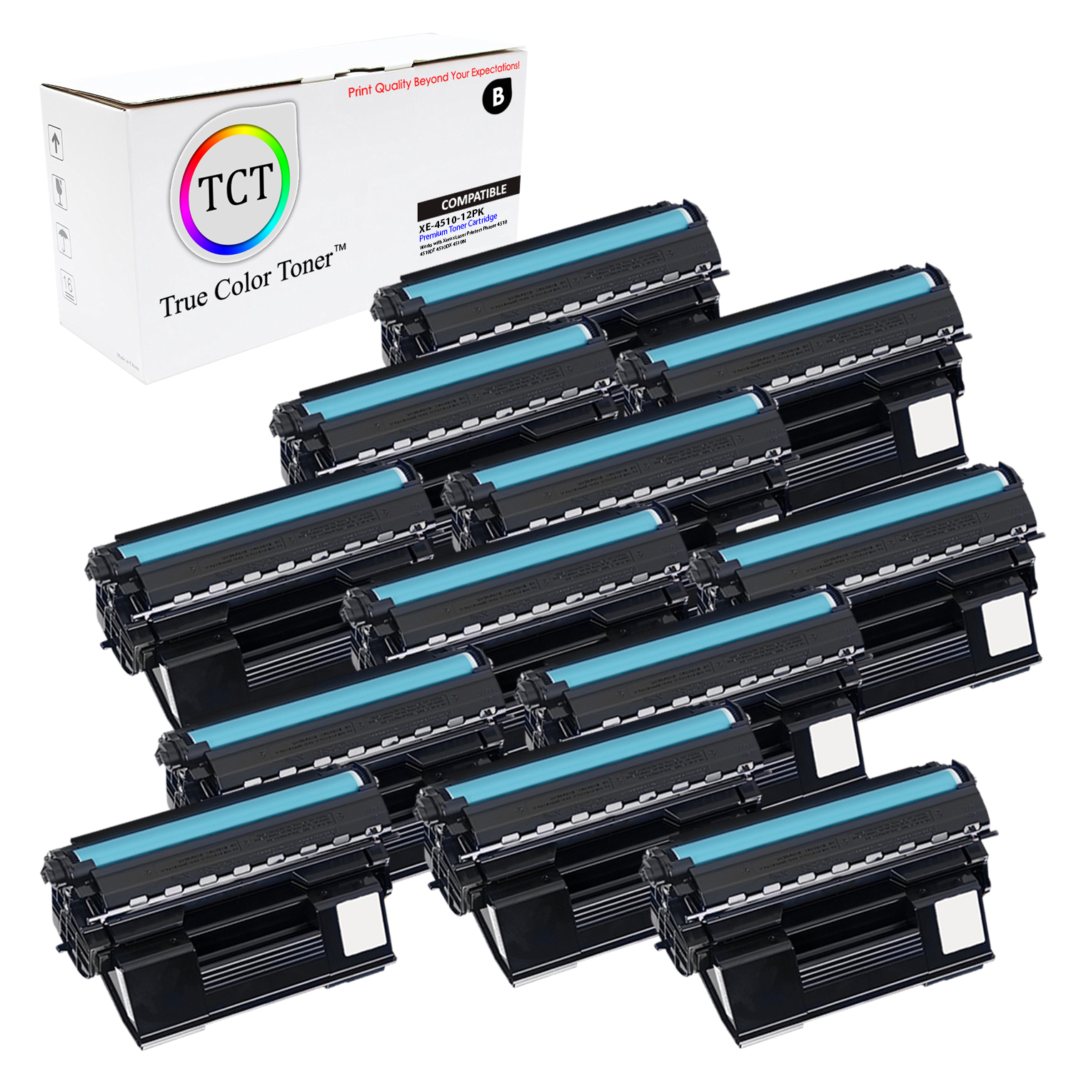 4PK Compatible Xerox 113R00712 HY Black Laser Toner Cartridge for Phaser 4510