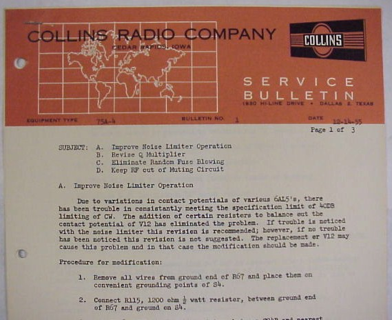 Collins 75A-4 ORIGINAL, 3 Page Service Bulletin #1 Noise Limiter,  Q-Multiplier, Fuse Blowing, & Muting Modifications