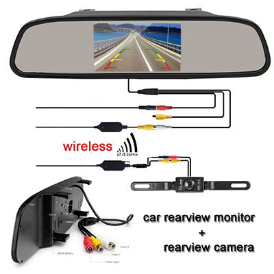 1x 4 3 inch car rearview monitor 1x power cable 1x car backup camera 1x  wireless transmitter 1x wireless receiver 1x installing diagram