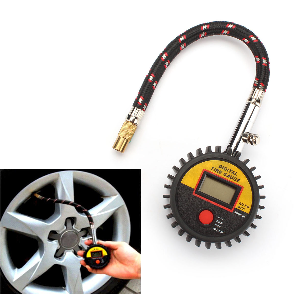 new digital 300 psi tire air pressure gauge meter tester car motorcycle bike ebay. Black Bedroom Furniture Sets. Home Design Ideas