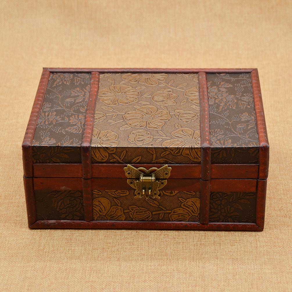Wooden Decorative Boxes: Retro Wooden Jewellery Box Decorative Trinket Storage Box