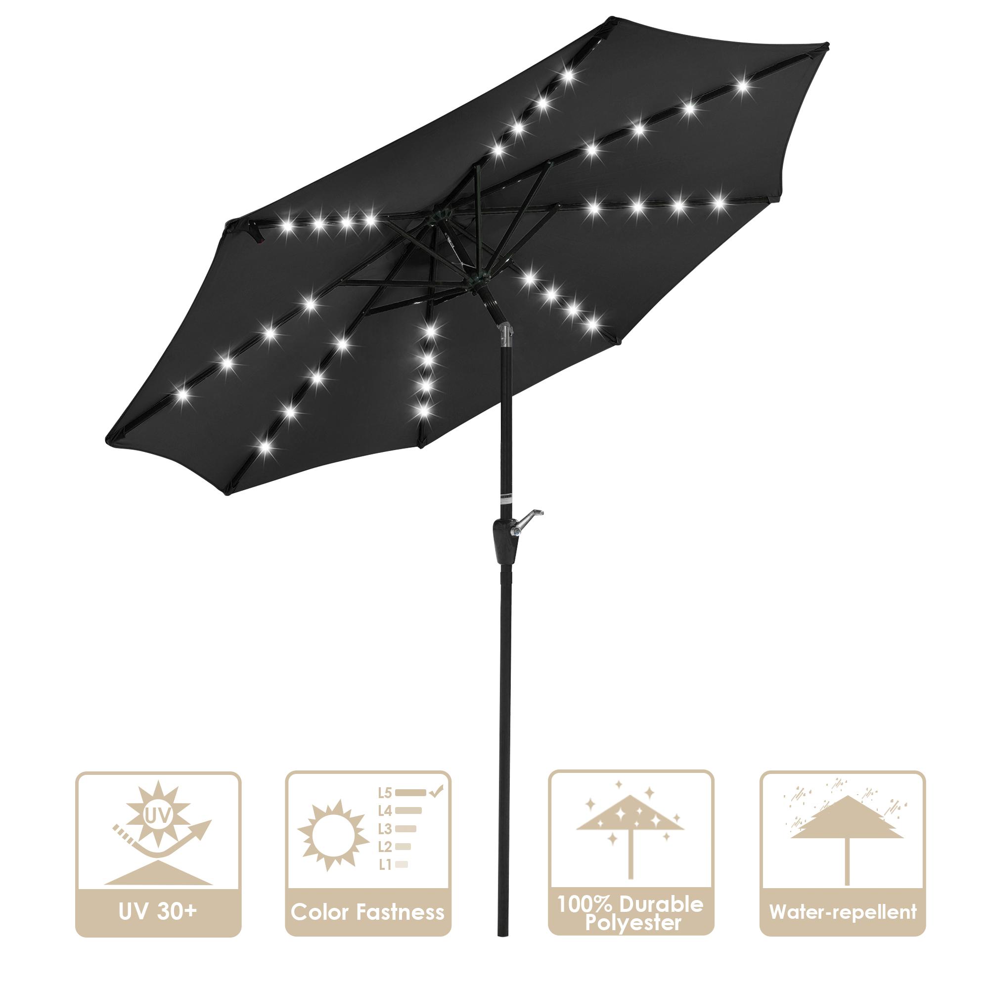thumbnail 35 - 9' Patio Outdoor Umbrella Solar LED 8 Rib Garden Parasol Yard Deck Table Shade