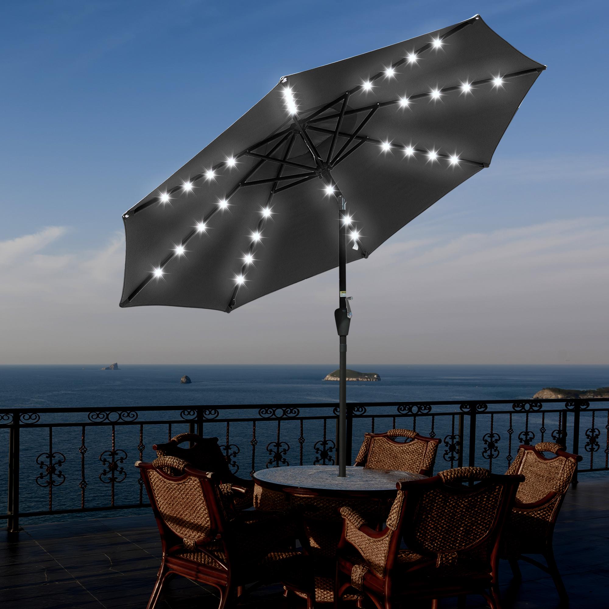 thumbnail 32 - 9' Patio Outdoor Umbrella Solar LED 8 Rib Garden Parasol Yard Deck Table Shade