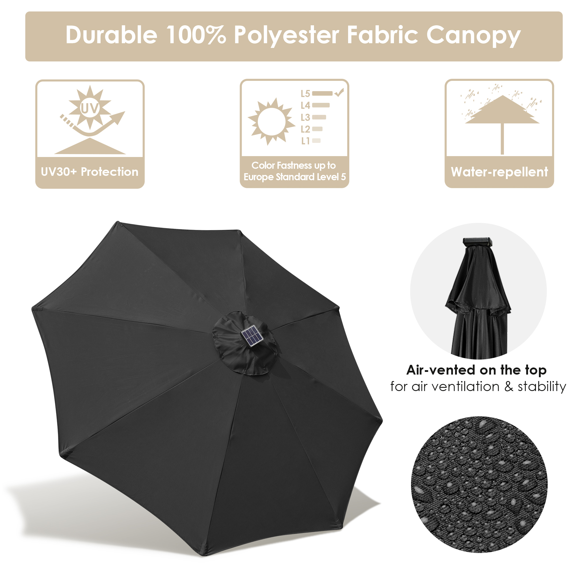 thumbnail 37 - 9' Patio Outdoor Umbrella Solar LED 8 Rib Garden Parasol Yard Deck Table Shade