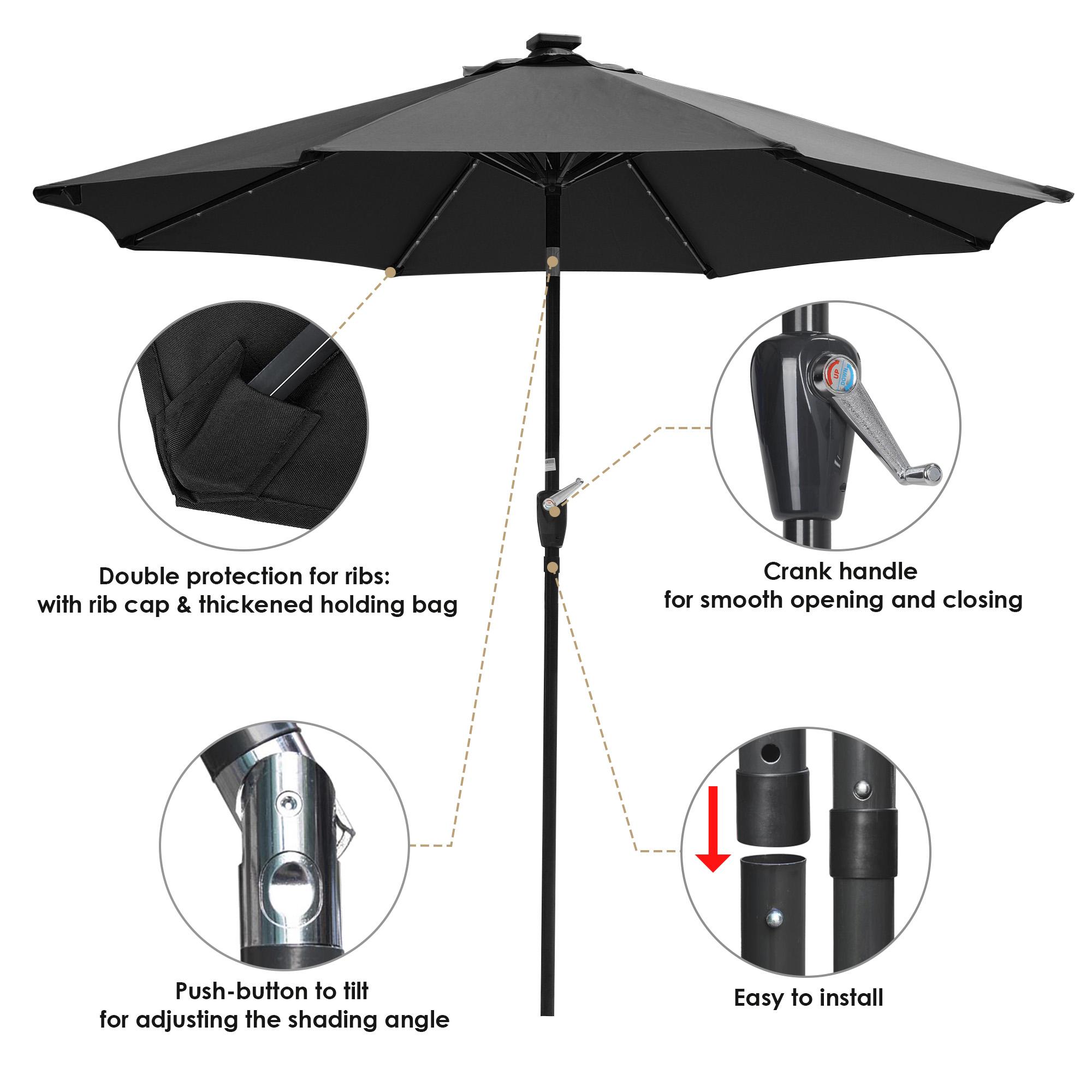 thumbnail 38 - 9' Patio Outdoor Umbrella Solar LED 8 Rib Garden Parasol Yard Deck Table Shade