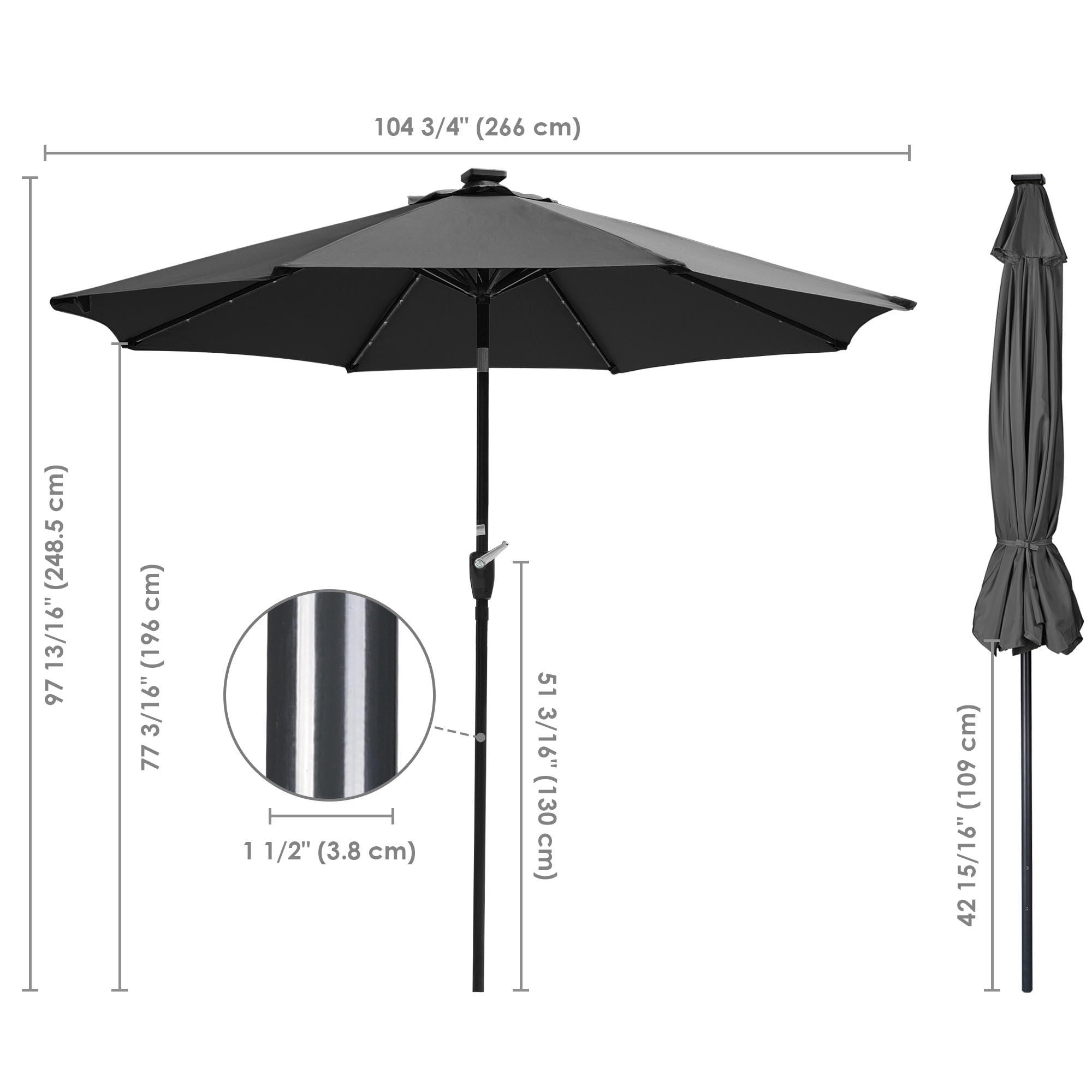 thumbnail 40 - 9' Patio Outdoor Umbrella Solar LED 8 Rib Garden Parasol Yard Deck Table Shade